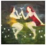 Barbara Petzold, Siebenblumen, 2010, Öl auf Nessel, 180 x 180 cm