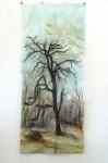C. Theis, Jagdgründe, Am Waldrand (Baum) 2011, chin.Tusche, Ölfarbe, Kohle, Transparent, 148 x 66 cm