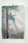 C. Theis, Jagdgründe, Förster im Nebel, 2012, chin. Tusche, Kohle, Transparentpapier, 42 x 29,7 cm