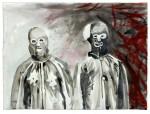 C. Theis, Jagdgründe, Zodiac (-Killer) mit Freund, 2012, chin. Tusche, Bütten, 57 x 76,5 cm