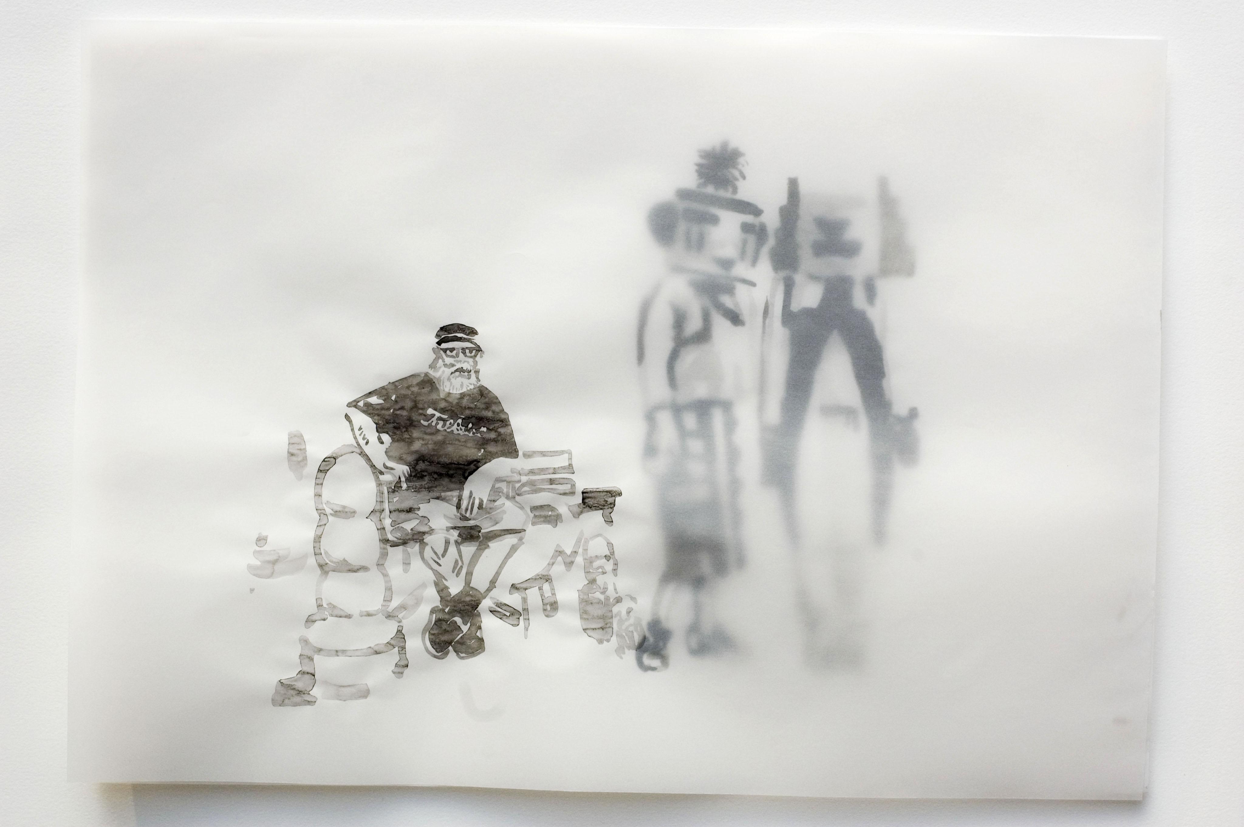 Cony Theis, Küntslerkosmos, 2005 - 2007, Raimond (Pettibon, Sophie Taeuber-Arp), chinesische Tusche, Öl, Transparentpapier.29,7 x 42cm