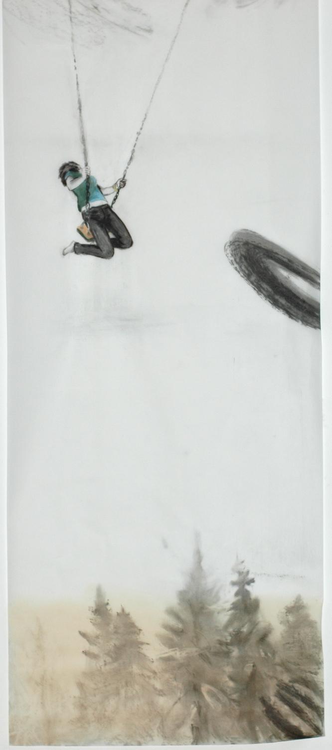 Cony Theis, Schaukel, 2009, chin. Tusche, Öl, Transparentpapier, 273 x 110 cm