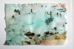 Cony Theis, Strandleben, Côte d'Azur 1, 2008,Chin. Tusche, Oel, Transparentpapier, 29,7 x 42 cm