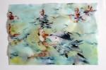 Cony Theis, Strandleben, Delphine, 2008, Chin. Tusche, Oel, Transparentpapier, 29,7 x 42 cm
