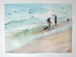 Cony Theis, Strandleben, Strand 10, 2008, Chin. Tusche, Oel, Transparentpapier, 42 x 57cm