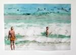 Cony Theis, Strandleben,  Strand 8, 2008, Chin. Tusche, Oel, Transparentpapier, 42 x 59,4cm
