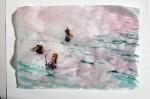 Cony Theis, Strandleben, Taucher, 2008, Chin. Tusche, Oel, Transparentpapier, 29,7 x 42 cm