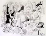 Julien Roux, Apocalypse VI, 2008,50 x 65 cm, Marker auf Papier