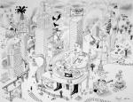 Julien Roux, Apocalypse VIII, 2008,50 x 65 cm, Marker auf Papier