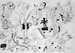 Julien Roux, Apocalypse XVIII, 2009, 70 x 100 cm, Marker auf Papier