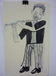 Julien Roux, Carnets des voyages 2007, 2008, 21 x 13 cm, Flute player