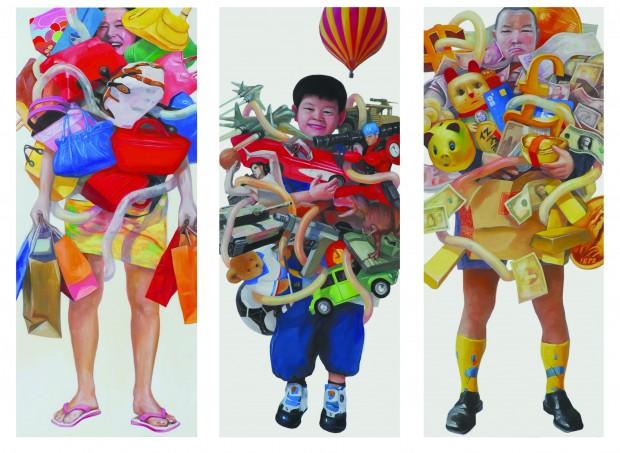 Xiao Fan Ru, Enjoy n°11 - 1,7,6, 2006, 190x80 cm, Öl auf Leinwand,