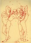 Haushaut, 2008, Rote Tinte auf Papier, 21,1 x 29,1 cm