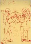 Haushaut, 2007, rote Tinte auf Papier, 21,1 x 29,1 cm