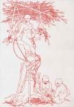 Hochsitz (Fremde Frauen), 2006, rote Tinte auf Papier, 30 x 40 cm