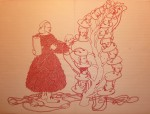 Bea Emsbach, O.T. II, Werkreihe Beutezüge im Bodensatz der Wissenschaften, 1998-2008, Kolbenfüller, Tinte auf Papier, 32x42 cm