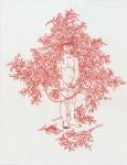 Schamanin, 2006, rote Tinte auf Papier, 42 x 30 cm