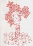 Symbiose, 2006, rote Tinte auf Papier, 42 x 30 cm