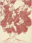 o. T., 2007, rote Tinte auf Papier, 42 x 30 cm