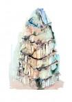 Jacqueline Taїb, Mes Tours du Monde, Sans titre 11, Acryl auf Papier, 2012, 70 x 50cm