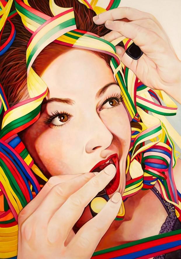 Amina Broggi, Covered beauty, 2013, Acryl auf Leinwand (3), 200 x 140 cm