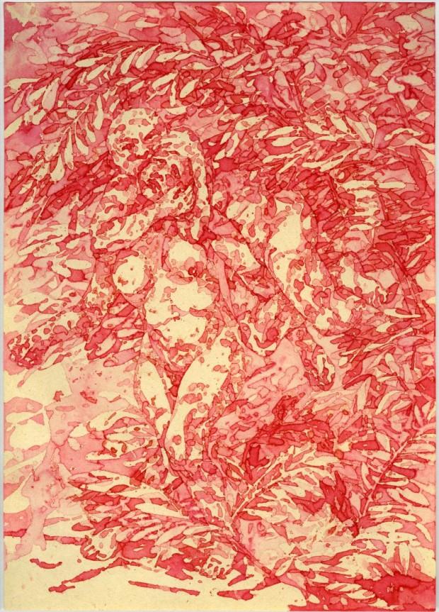 Bea Emsbach, Hinterhalt (aus der Werkreihe Tarnhaut), 2009, Tintenaquarelle 32 x 42 cm