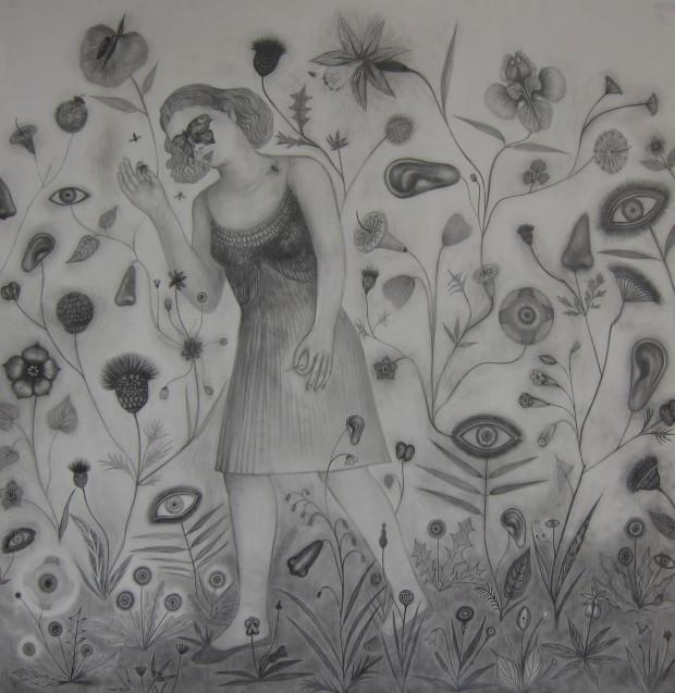 Kyung-Hwa Choi-ahoi, Garten 1, Bleistift auf Papier, 105x108cm, 2013
