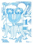 """Julien Roux, Sans Titre 4, Série """"Les Femmes Moustaches"""" Marker-Filzstift auf Papier, 2013, 29, 5 x 42 cm"""