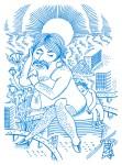 """Julien Roux, Mam Moustache, Série """"Les Femmes Moustaches"""" Marker-Filzstift auf Papier, 2013, 29, 5 x 42 cm"""