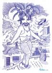 """Julien Roux, Sans Titre 1, Série """"Les Femmes Moustaches"""" Marker-Filzstift auf Papier, 2013, 29, 5 x 42 cm"""