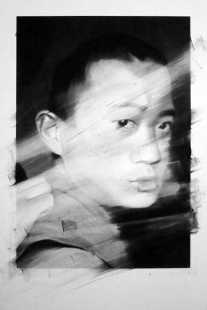 Valentin Van Der Meulen, untitled 8, 2013, Kohle, schwarzer Stein,  Papier, montiert auf Holz, 146 x 97 cm