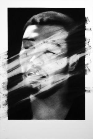 Valentin Van Der Meulen, untitled 12, 2013, Kohle, schwarzer Stein,  Papier, montiert auf Holz, 146 x 97 cm