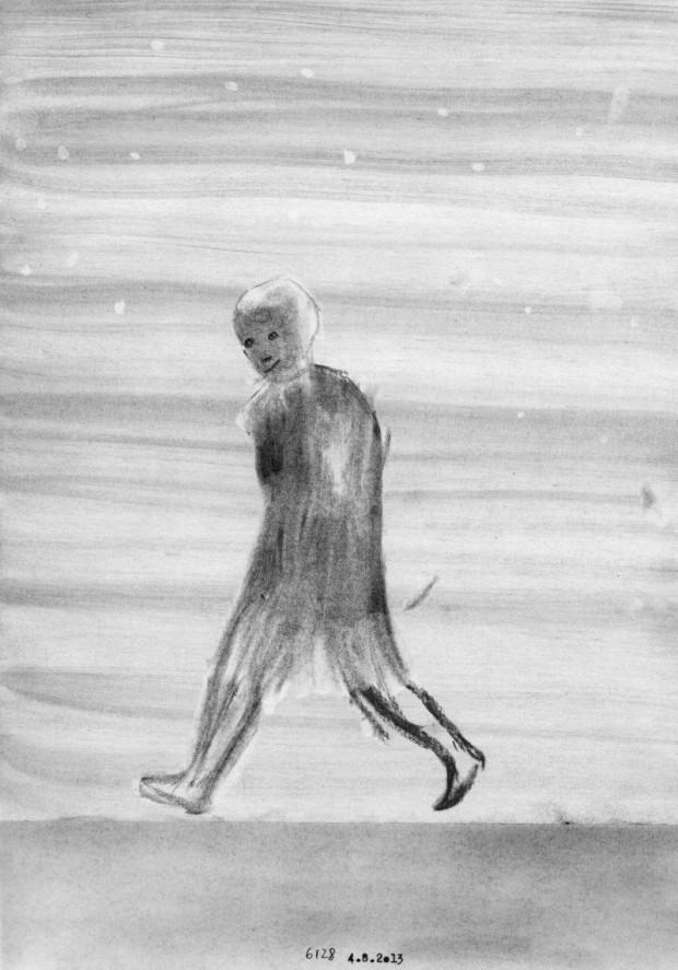 Kyung-Hwa Choi-ahoi, Tagebuch 4.8.2013, Bleistift auf Papier, 21x29,7cm,2013