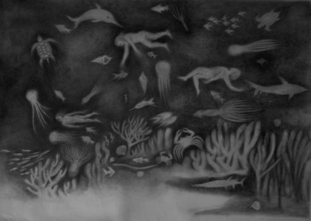 Kyung-Hwa Choi-ahoi, Octopus, Bleistift auf Papier, 140x100cm, 2013