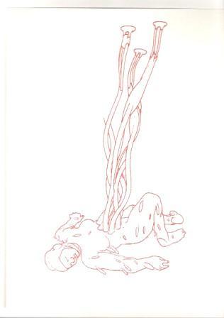 Bea Emsbach, o.T., Werkreihe Die Anthropologin zu Hause, 1998-2008, 21x30cm, Kolbenfüller, Tinte auf Papier