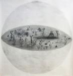 Kyung-hwa Choi-ahoi, Augapfel I, 110 x 110 cm, Bleistift auf Papier, 2014