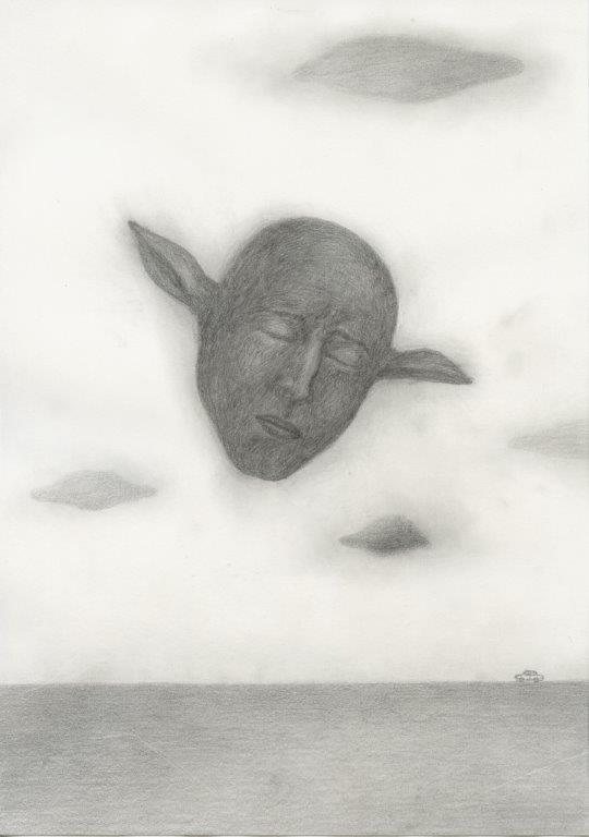 Kyung-hwa Choi-ahoi, Fliegender Kopf, 2013, Bleistift Collage, 37x27cm