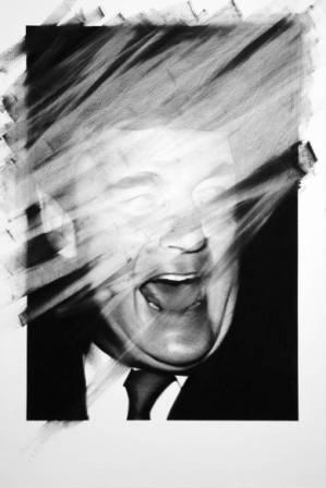 Valentin Van Der Meulen, untitled 10, 2013, Kohle, schwarzer Stein,  Papier, montiert auf Holz, 146 x 97 cm