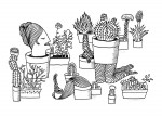 Julien Roux, Succulent Plant Serie- Corps en Pot, Ink on paper 2014, 21 x 15 cm