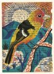 Julien Roux, Bird serie - Red head yellow, 2014, water colour on Hebrew prayer book, 10 x 8 cm
