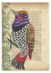 Julien Roux, Bird serie - Sans titre 3, 2014, water colour on Hebrew prayer book, 10 x 8 cm
