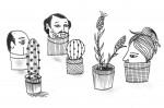Julien Roux, Succulent Plant Serie- Head Pot, Ink on paper 2014, , 21 x 15 cm