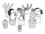 Julien Roux, Succulent Plant Serie-, Ink on paper 2014, , 21 x 15 cm