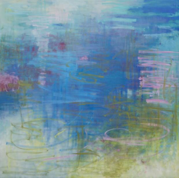 Cris Pink, Meer wie Blau, 2015, Öl auf Leinwand, 130x130 cm
