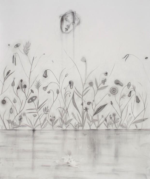 Kyung-Hwa Choi-ahoi, Augen äpfeln Nasen blühn, 2015, Zeichnung auf Papier, 89,5 x 110 cm