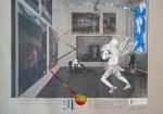 Enfants Terribles, Durchbruch der Kugel, 2014, Inkjet Druck auf Recycling Papier, Zeichnung, Collage, 52 x 72 cm