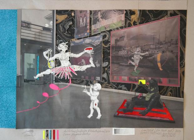 Enfants Terribles, Ein Hoch auf, 2014, Inkjet Druck auf Recycling Papier, Zeichnung, Collage, 72 x 72 cm
