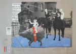 Enfants Terribles, Drei Reiter, 2014, Inkjet Druck auf Recycling Papier, Zeichnung, Collage, 52 x 72 cm
