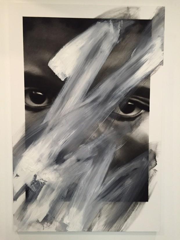 Van der Meulen, Untitled, 2015, 146 x 97 cm,  Kohle,  Öl, Papier auf Holz montiert
