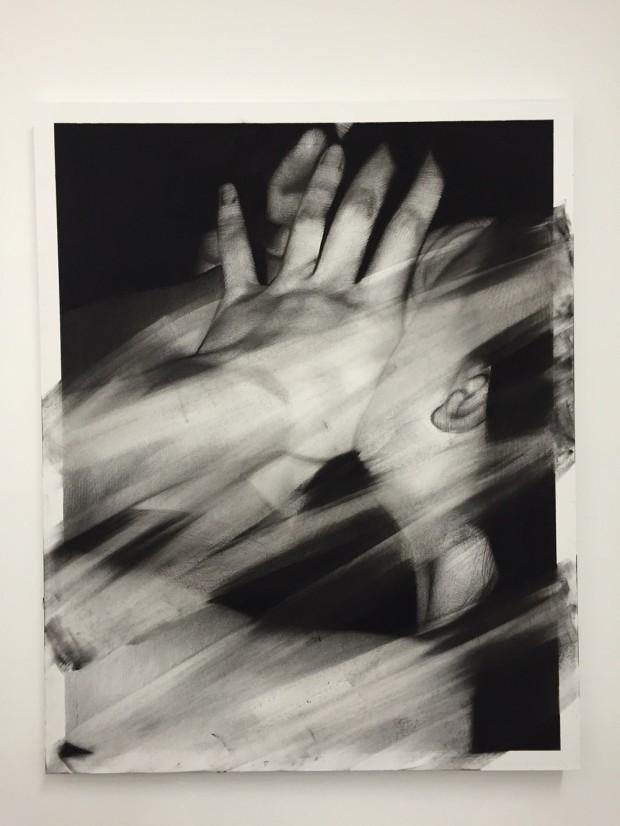 Van der Meulen, Untitled (Kuss), 2016, 100 x 80 cm, Kohle Radiergummi, Papier auf Holz montiert